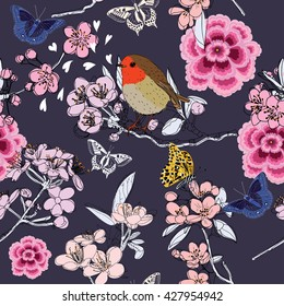 Cherry blossom seamless pattern, with butterflies and bird on the blue background