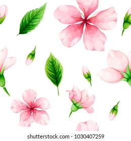 Cherry blossom. Seamless pattern of pink flowers and green leaves. Spring watercolor. Vector illustration