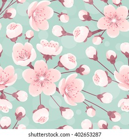 Cherry blossom seamless pattern, spring flowers. Retro vector background