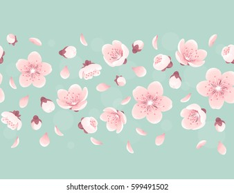 Cherry blossom seamless stripe, spring flowers. Retro vector illustration. Place for your text