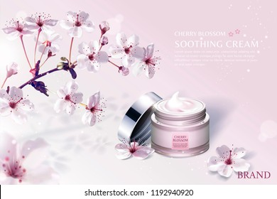 Cherry blossom skin care product ads with breathtaking sakura blossoms on light pink background in 3d illustration