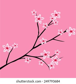 фотообои Cherry blossom, spring branch with flowers blooming vector