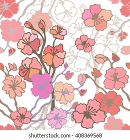 Cherry blossom in spring garden. Blooming sakura seamless pattern. Vintage floral print with flowers, petals and brances. May pink tree. Bohemian motifs. Retro textile design. Pink on white.