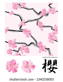 Cherry Blossom Vector repeat Pattern and icons