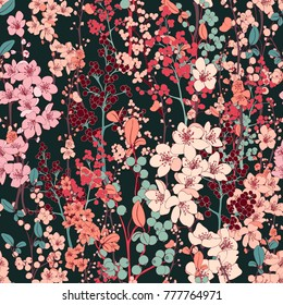Cherry Blossom Vector Seamless Pattern