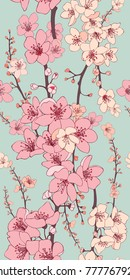 Cherry Blossom Vector Seamless Wallpaper