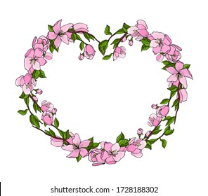 Cherry blossom wreath. Vector isolated illustration with a festive wreath in the form of a heart . Pink cherry blossom wreath on a white background. Card for Mother's Day, Easter, thanksgiving.