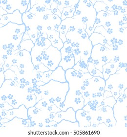 Cherry blossoms with the branches pattern on a light background. Vector.