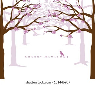 Cherry blossoms. EPS 8 vector, grouped for easy editing. No open shapes or paths.