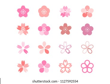 Cherry blossoms icons set