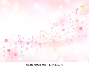 Cherry blossoms and notes dance in the wind