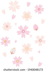 Cherry blossoms, petals and buds icon set