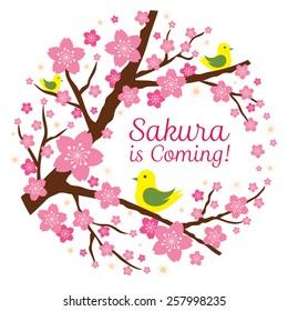 Cherry Blossoms or Sakura flowers with Bird Heading