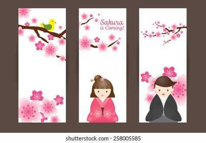 Cherry Blossoms or Sakura flowers with Japanese Couple Backdrop