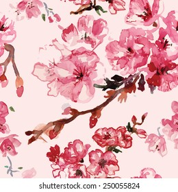cherry blossoms watercolor pattern vector