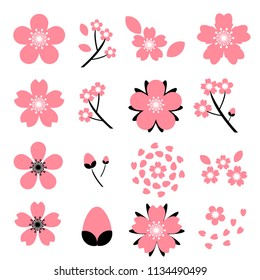 cherry blossom(Sakura) icon set isolated on white background