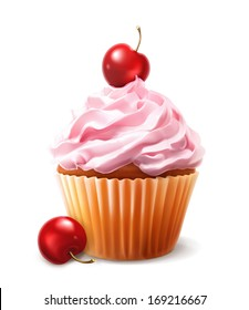 Cherry cupcake, vector