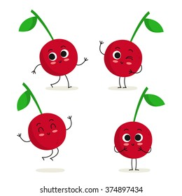 Cherry. Cute fruit vector character set isolated on white