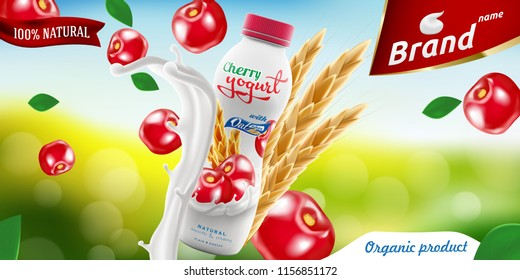 Cherry Drinking yogurt bottle with oats on bright summer background branding ready commercial flyer realistic illustration