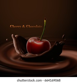 Cherry falling in melted chocolate. Vector food illustration. Cherry with chocolate crown splash. Confectionery product ad poster