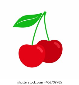 Cherry in flat style isolated on white background. Red cherry icon. A couple of berries vector illustration