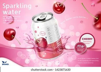 Cherry flavor sparkling water ads with product soaking in the liquid on pink bokeh background, 3d illustration