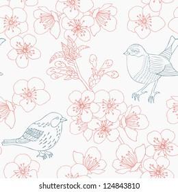 cherry flower seamless pattern