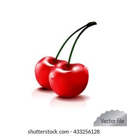 cherry- fresh fruit & vegetables illustration. red color, vector file