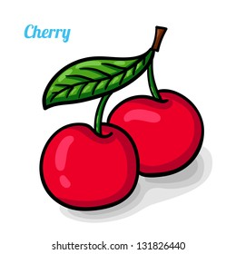 Cherry, fresh fruits. Colorful cartoon. Easily editable vector. Fruits on the white background. Isolated vector.