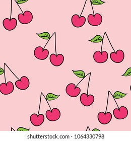 Cherry fruit drawing seamless endless repeating pattern on pink / Vector illustration design for fashion fabrics, textile graphics, prints, wallpapers and other uses.