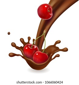 Cherry fruit in melted chocolate splash isolated