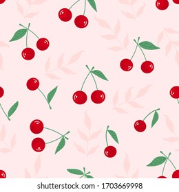 Cherry with green leaf seamless on pink background vector illustration. Cute cartoon fruit pattern.