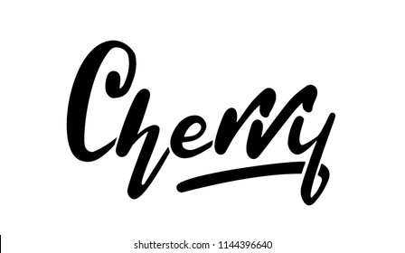 Cherry , Hand sketched card , crawt drawn lettering sign. Invitation, banner, postcard, poster, stickers, tag. Cherry logo Vector illustration isolated on white background