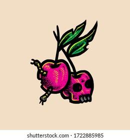 Cherry head skull Vector design illustration