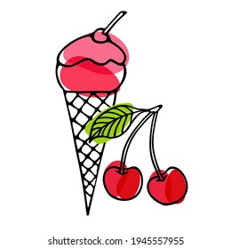 Cherry Ice Cream cone. Red berry with pink ice cream. Hand drawn sketch with bright red backdrop. Delicious frozen dessert. Bright summertime sweet food. Vector doodle illustration.