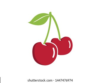 Cherry icon. Red cherry fruit illustration.