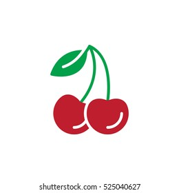 Cherry icon vector, filled flat sign, solid colorful pictogram isolated on white, logo illustration