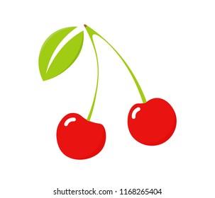 Cherry icon, vector fruit illustration. Fresh healthy cherries.