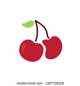 cherry icon, vector fruit illustration, sweet cherries, fresh healthy cherries