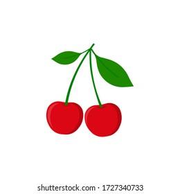 Cherry icon. Vector illustration. Flat design. Isolated.