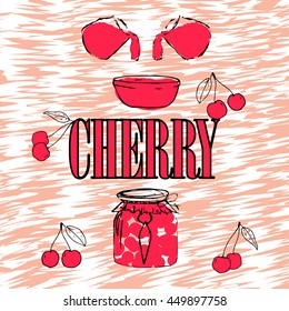 Cherry Jam. Jar with Cherry Jam. Pink jelly. Bright poster with berries. EPS 8
