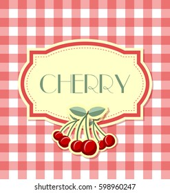 Cherry label in retro style on squared background