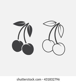 cherry line icon, berry outline and solid vector sign, linear and full pictogram isolated on white, logo illustration