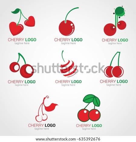 cherry logo design template stock vector royalty free 635392676