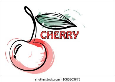 Cherry logo isolated on white with blots and black stroke, design, badge, sticker, vector illustration, idea.