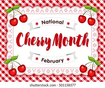 Cherry Month, celebrated each February in USA, juicy fruits isolated on white eyelet lace doily place mat on red gingham check background. EPS8 compatible.