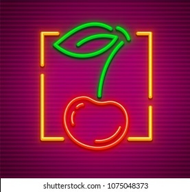 Cherry neon sign with berry and green leaf in circle. Symbol idea for bar or pub. Neon evening illumination, gradient mesh used. Vector illustration.