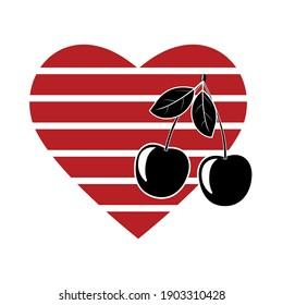 cherry on the background of an abstract heart symbol of love, isolated color vector illustration for Valentine's day or wedding, banner, logo, poster, design, decoration