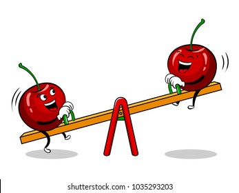 Cherry on seesaw teeter totter board pop art retro vector illustration. Cartoon food character. Isolated image on white background. Comic book style imitation.