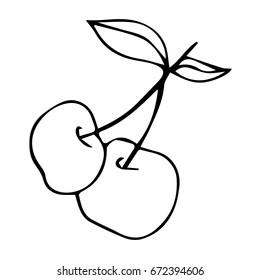 Cherry on white background illustration. Doodle style. Design icon, print, logo, poster, symbol, decor, textile, paper, card.